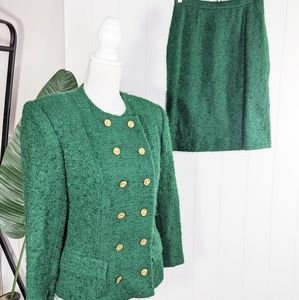 Vintage 80's Emerald Teddy Power Suit Skirt Set